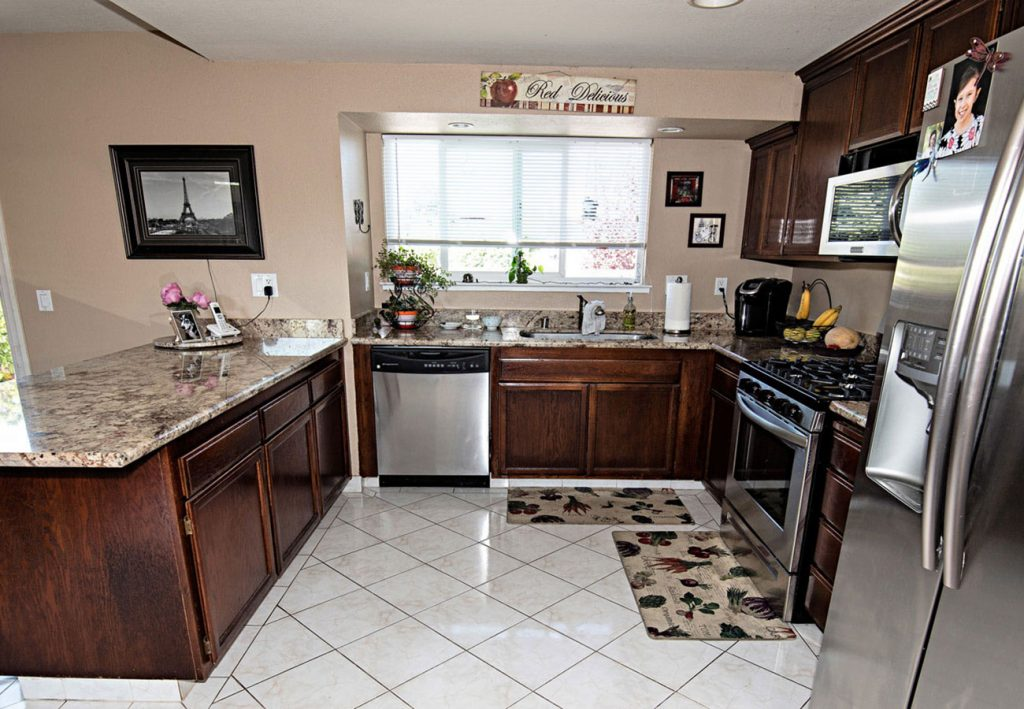Updated kitchen with tile floors